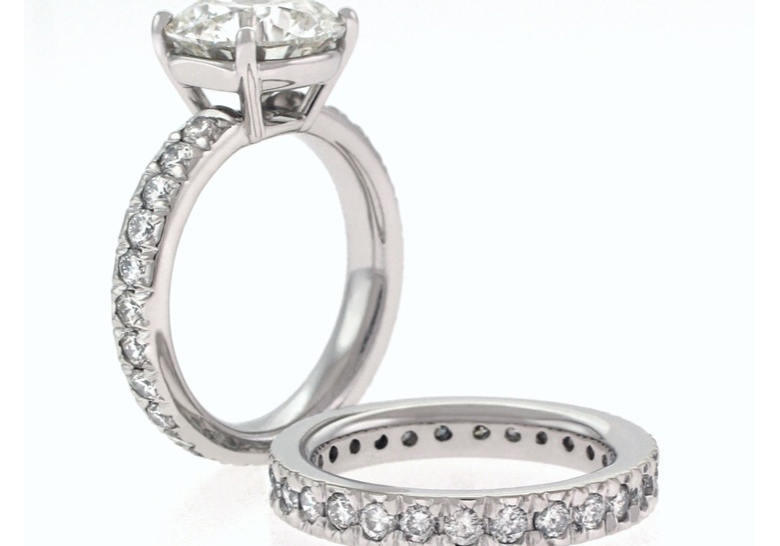 Cushion Cut Diamond With 4 Prong Setting Round Diamonds Common Set Squre Flat Sides On Shank Matching Wedding Ring