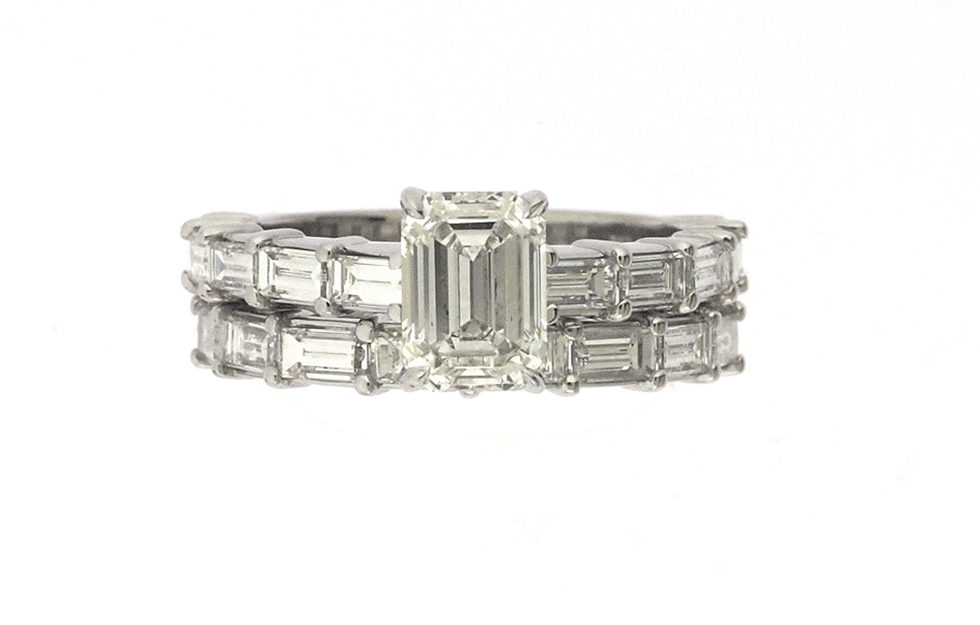 bands s and pin platinum vintage wedding retro diamond band baguette round